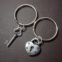 Key to my heart keychains - two silver lock & key charms for couples | NightOwlJewelry - Accessories on ArtFire