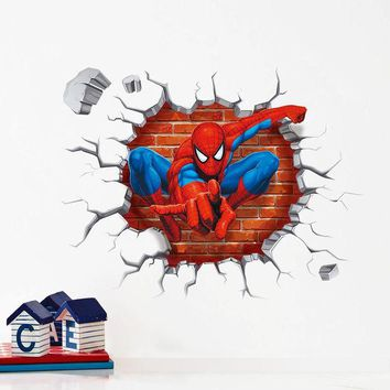 DCK9M2 3d Cartoon Spiderman wall stickers for kids rooms home decor Kids Nursery Wall Decals Home decoration Boy room gift Wallpaper