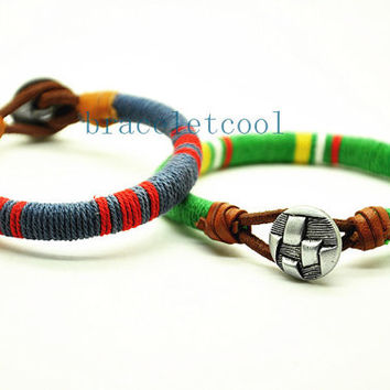 simple style cotton rope bracelet cuff, men's bangle cuff, women's leather bracelet, gift  RC4