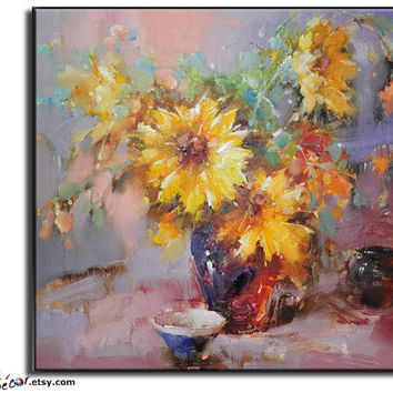 Oil Painting, Flower Oil Painting, Large Abstract Art, Still Life Painting Canvas Art Handmade Painting.