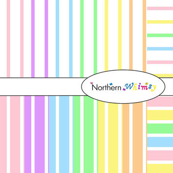 Digital Scrapbooking Paper Background Set – pastel rainbow colored 12x12 sheets in wide and narrow pinstripe patterns INSTANT DOWNLOAD
