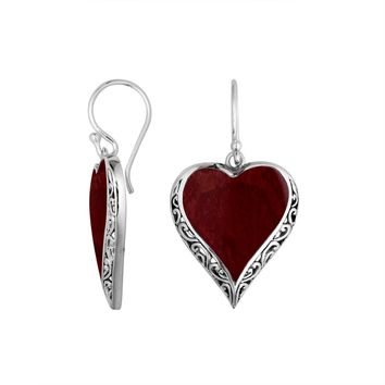 AE-6196-CR Sterling Silver Heart Shape Earring With Coral
