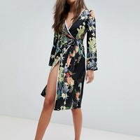 Boohoo Floral Tie Side Midi Dress at asos.com