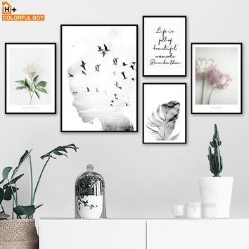 Girl bird Flower Feather Quotes Landscape Wall Art Canvas Painting Nordic Posters And Prints Wall Pictures For Living Room Decor