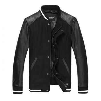 Lars bell Men Baseball Genuine Leather Jacket Sleeve Bomber Jacket Fashion Splice Men Cowskin Coat Autumn motorcycle jacket men