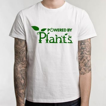 Unisex Vegetarian Vegan T-Shirt Power By Plants T Shirts Men Summer Funny Tshirts Female Hipster Joke Tee Tops