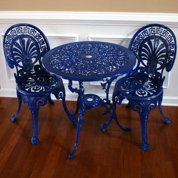 Chinoiserie Sapphire Blue Vintage Patio Chairs by RhapsodyAttic