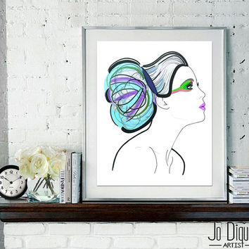 Fashion Illustration Art Print. Fine art print. Girl wall art. Girly print. 8x10 wall art.