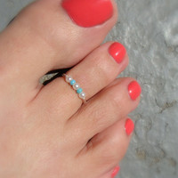 Sweet Petites, Turquoise, Pearl, Silver Bead Stretch Toe Ring