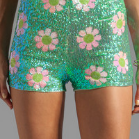 Wildfox Couture White Label Psychedelic Daisies Sequin Shorts in Glitter Green from REVOLVEclothing.com