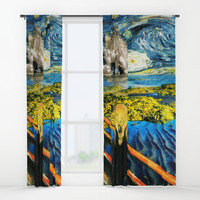 Edvard meets Vincent Window Curtains by gx9designs
