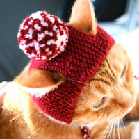 Pom Pom Cat Hat - Red and White
