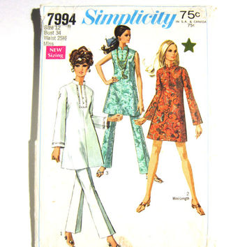 Sixties Vintage Simplicity Mini Dress Tunic Pattern 7994 Bell Bottom Pants Pattern, Simplicity Size12 Misses, 1968 Pantsuit Pattern, Sixties
