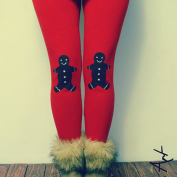 Ginger bread patched leggings in red