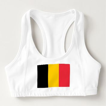 Women's Alo Sports Bra with flag of Belgium