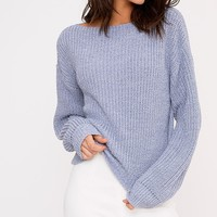 Christiana Denim Mixed Knit Slash Neck Crop Jumper