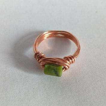 Jade Copper wire wrap ring, Natural Jade, Gift for her, Unique gifts