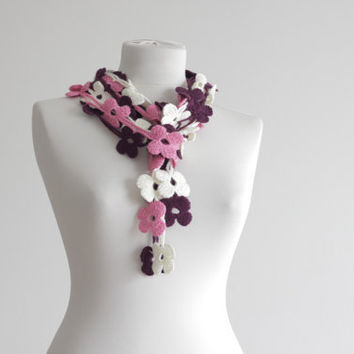 Women Crochet Scarf Accessories Floral scarf in dark by SENNURSASA