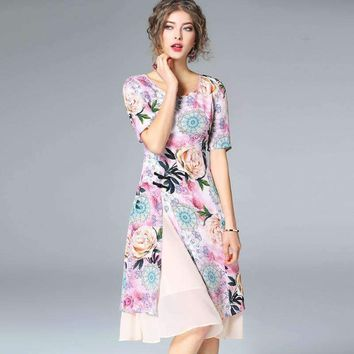 Silk Print Chinese Style Cheongsam Dress Brand Runway Women Dress Office Lady Dress R9223