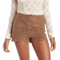 Cognac Perforated Faux Suede Shorts by Charlotte Russe
