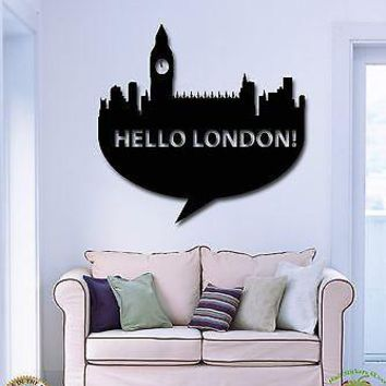 Wall Stickers Vinyl Decal Hello London Great Britain Europe Travel Unique Gift (z1749)