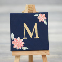 "Mini Canvas and Easel, Navy with Gold Letter / Personalized Wedding Favors / 3"" x 3"" Canvas"