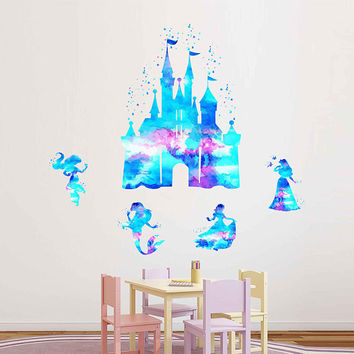 kcik1979 Full Color Wall decal Watercolor Character Disney Castle Disney Princesses Jasmine Ariel Snow White Aurora Sticker Disney