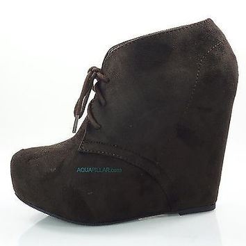 Pager Brown F-Suede Laced Up Close Toe Hidden Platform Wedge Bootie Soda Shoes