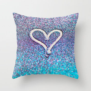 glitter heart- photograph of glitter  Throw Pillow by Sylvia Cook Photography | Society6