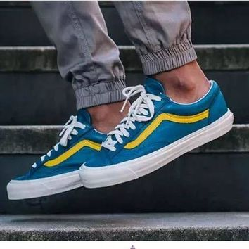 Best Deal Online Vans Vault OG Style 36 LX Old Skool Moroccan Blue Low Top Men Flats Shoes Canvas Sneakers Women Sport Shoes