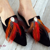 "Leather Mules, Black Mules with feather,  ""DUCHESS"" Red feather,  Decorated  shoes,  Slides,  Greek sandals,"
