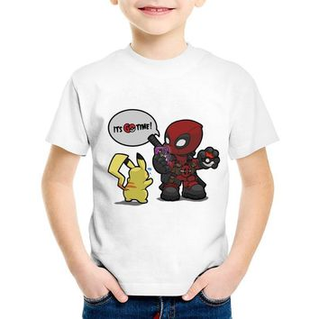 Deadpool Dead pool Taco Cartoon Print  Pokemon GO Time Children Funny T-shirts Kids Cute Summer Tees Boys/Girls Casual Tops Baby Clothes,HKP5096 AT_70_6