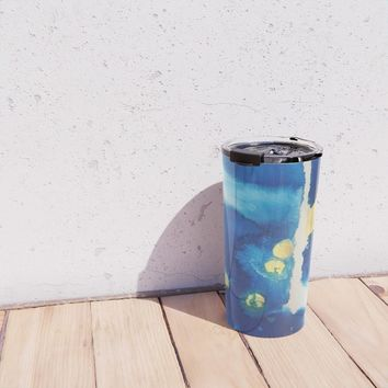 Cool Blues N Gold Travel Mug by duckyb