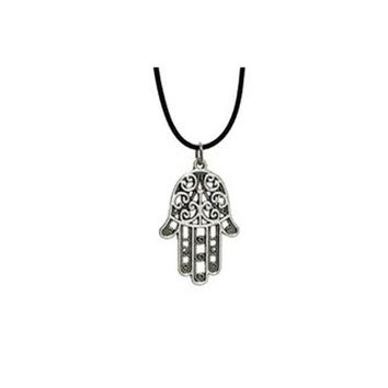 "Silver FATIMA Hands Pendant Charm 17"" Short Necklace"