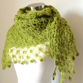 Olive Green Loden Forest Shawl   Neckwarmer  Cowl by MODAcrochet