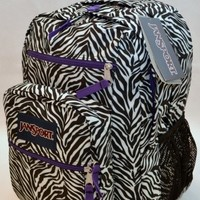 Jansport Big Student Backpack White Black Cosmo Zebra Primal Bag TDN77TN Girls