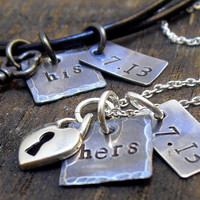 Personalized, His and Her Necklace, His and Her Jewelry, Couples Necklace, His and Hers, Key to my heart, Personalize Couples Gift