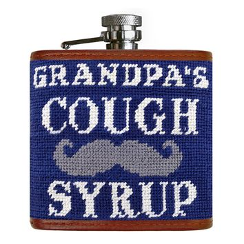 Grandpa's Cough Syrup Needlepoint Flask in Classic Navy by Smathers & Branson