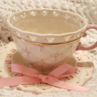 Unique 1980's Lenox Ribbons and Rose Teapot and Saucer With a Gold Trim, Pink Ribbon, Pink Flowers and Permanently Attached Saucer