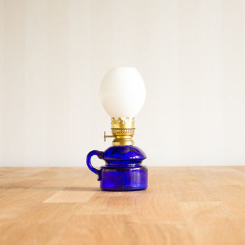 Vintage Cobalt Blue Oil Lamp Miniature by Smaland Sweden in unused condition