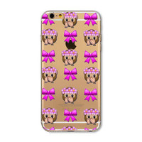 Facebook Monkey Flower Crown Bow Emoji Collage Painted Soft TPU Silicon Cases CoverCase For Apple iPhone 4 4S 5 5S SE 5C 6 6S 6 Plus 6S Plus