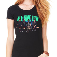 Official All Time Low Bench Press Women's Fitted T-Shirt Pop Punk Band