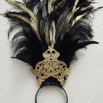 Egyptian gold black Ostrich Feather  Belly Dance Headdress Cabaret Headpiece