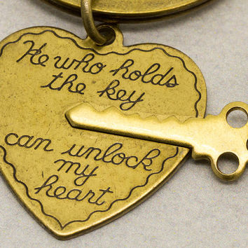 Key to My Heart Keychains | His and Her Keyrings | He Who Holds the Key Can Unlock My Heart | Boyfriend Girlfriend Gift | Anniversary Gift