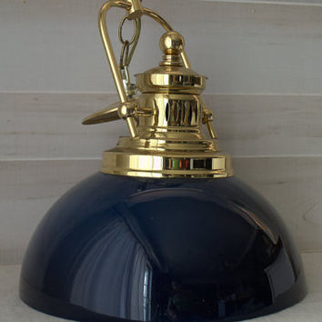 Vintage Farmhouse Kitchen Brass and Glass Ceiling Pendant Light