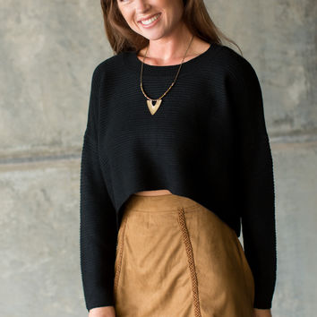 Cedar St. Cropped Sweater - Black