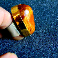 Stunning chuny gold silver and amber ring-18k gold, sterling silver and amber ring-Chunky women's gold rings-Artisan jewelry-Greek art