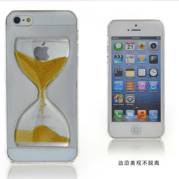 Liquid Crystal Clear Sand Clock Sand Glass Transparent Flowing Hourglass Pattern Back Cover Phone Case for iPhone SE 5 5S & 4 4S