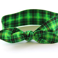 No Wire Dolly Bow Headband St. Patrick's Day Green Yellow Black Plaid Rockabilly Pinup Dolly Bow Teen Women Girl Hair Accessory
