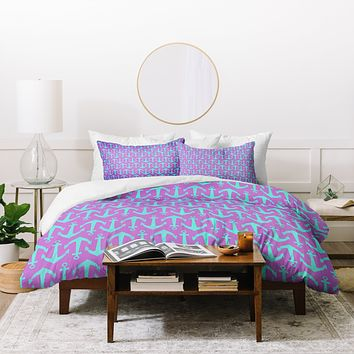 Allyson Johnson Purple Anchors Duvet Cover